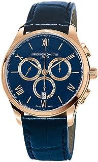 Frederique Constant Men's 40mm Blue Leather Band Steel Case Sapphire Crystal Quartz Watch FC-292MNG5B4