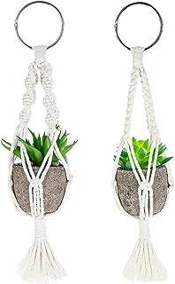 Ausway 2 Pack Mini Macrame Plant Hangers, Cute Macrame Plant Holder Car Charm, Mini Succulent Decor for Bedroom/Office/Boo...