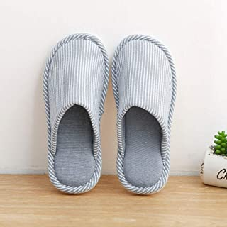 BBJOZ Striped Home Slippers Indoor Autumn and Winter Cotton Slippers Warm and Comfortable Sweat-Absorbent Breathable Non-Slip (Color : Blue, Size : L)