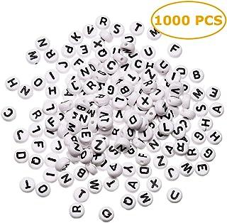 1000 PCS 4x7mm acrílico blanco redondo carta cuentas para pulseras y joyería, con hilo y bolsa