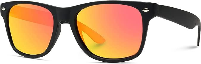 Premium Matte Horn Rimmed Style Mirrored Lens Sunglasses