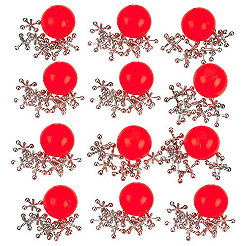 Kicko Metal Jacks Set - 12 Pack - Metallic Jacks and Bouncy Ball Set - for Party Favors, Game Prizes, Kids' Activities, Loot Bag Fillers, Halloween, Easter, Birthday Parties