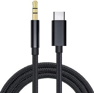كابل Aux من USB C إلى 3.5 ملم ، قابل للربط 3.3 قدم USB من النوع C إلى 3.5 ملم ذكر إلى ذكر 3 أقطاب ستيريو صوتي للسيارة مهاي...
