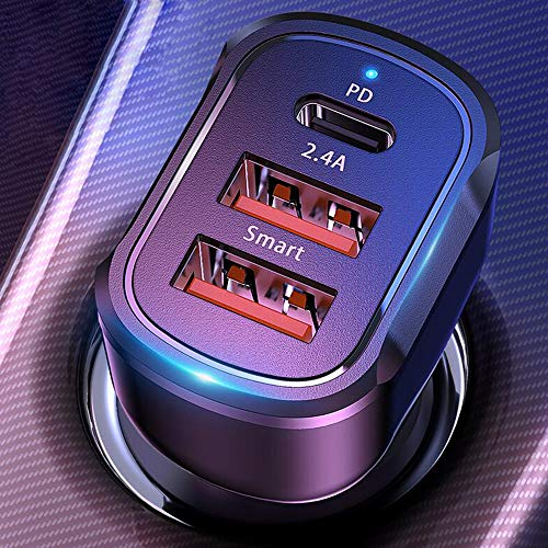 USB C Car Charger,Bralon 20W PD 3.0 & 24W/4.8A 3-Port Fast Car Charger Compatible with iPhone 12/12 Pro(Max)/12 mini/11/11 Pro(max)/XS/XR/X/8/7/6,Galaxy Note S10 S9 S8 S7,iPad,Mp3&More