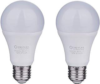 2 x ZEYUN LED Sensor de luz con sensor de crepúsculo, E27, 12 W LED, interruptor automático con sensor de luz Blanco cálid...