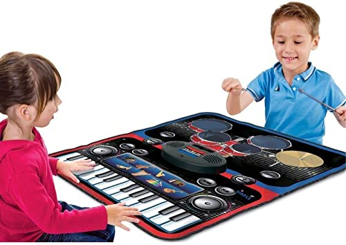 Toyshine Portable 2 in 1 Drum Piano Combo Educational Musical Play Mat w 8 Musical Instruments 5pcs Drum Set 10 Demos 24 Key Keyboard Built in Speaker Record Function