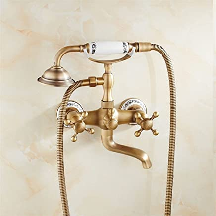 Hlluya Professional Sink Mixer Tap Kitchen Faucet AntiqueBrass Bath Faucet Shower Faucet suite bathroom faucet hot and coldwater valve into wall Bath Faucet Kit