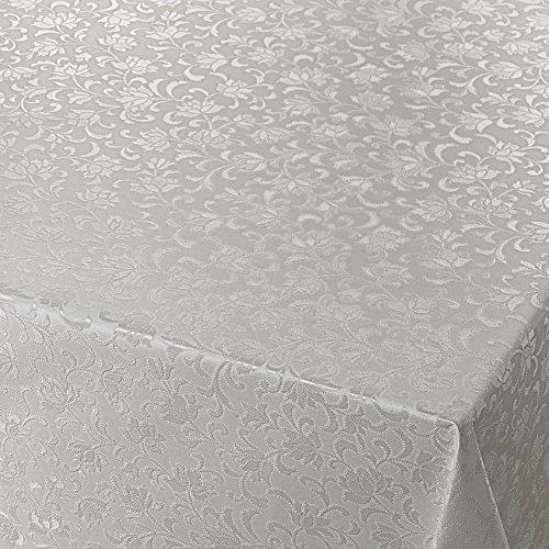 DecoHomeTextil Wachstuch Wachstischdecke Gartentischdecke Tischdecke Blumen Relief Grau Silber Geprägt Breite & Länge wählbar 110 x 170 cm abwaschbar
