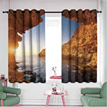 HCCJLCKS Half Blackout Curtains Sunset in Pacific Paradise Ocean Cave with Morning Horizon Stone Calm Seacoast Art Set of Two Panels Cream Blue W63 x L45