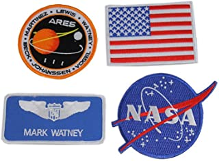 The Martian Patch x 4 watney Mark NASA Melissa Lewis Ares Flag Insignia