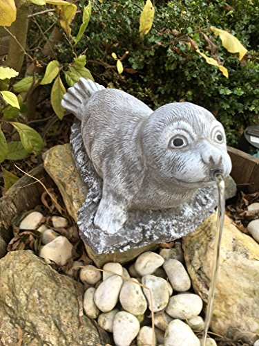 Wasserspeier Robbe Steinfigur Garten Deko Gartenfiguren Elefanten Steinguss