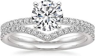 DUGISOWE 10K 14K 18K White Gold 1-1/3 ct. tw. Round Cut Moissanite Bridal Sets for Women 2-in-1 Wedding Engagement Halo Mo...