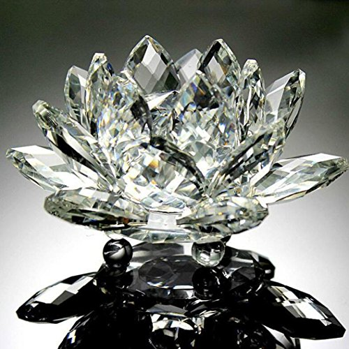 Xshuai Fleur de lotus en cristal style origami pour décoration d'intérieur Feng Shui 60 mm, blanc, Diameter: 60mm
