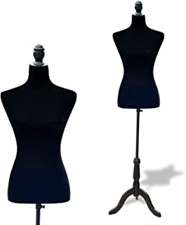 HOMCOM Maniquí Femenino de Costura Busto de Señora para Modistas Exhibición Altura Ajustable a 130-168cm Negro