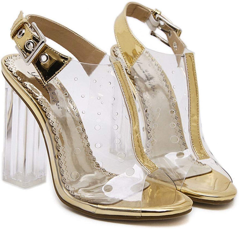 KERVINFENDRIYUN YY4 Damen Sandalen Sommer offene Zehe transparenten Kristall Dicke Dicke Dicke High Heels (Farbe   Golden, Größe   40)  837cf9