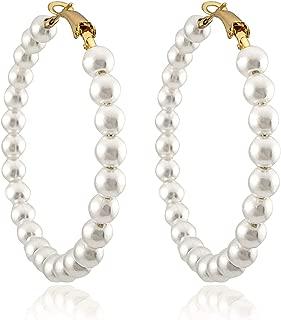 Pearl Hoop Earrings for Women Fashion Dangle Hypoallergenic Layer Earrings Drop Dangle Earrings Gifts for Women
