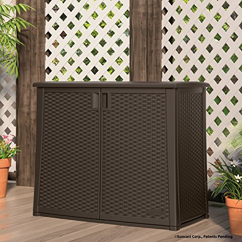 """Suncast Elements Outdoor Wide Cabinet - 40"""" Wide Resin Constructed Patio Furniture Ideal for Decks and Balconies - Contemporary Wicker Design for Outdoor Storage with 97 Gallon Capacity - Brown"""