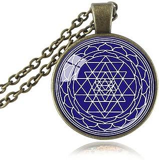 Us-DeSiGn : Sacred Geometry pendant Sri Yantra jewelry Sri Chakra necklace dark blue white Om,Yoga,Buddhist,mandala necklaces Reiki gifts