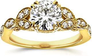 Kobelli Antique Round-cut Moissanite Engagement Ring 1 1/5 CTW 14k Yellow Gold