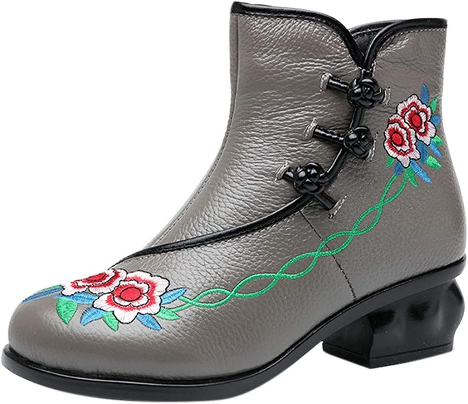 Colmkley Women's Vintage Bohemia Ankle Boots Embroidery Medium High Heeled shoes