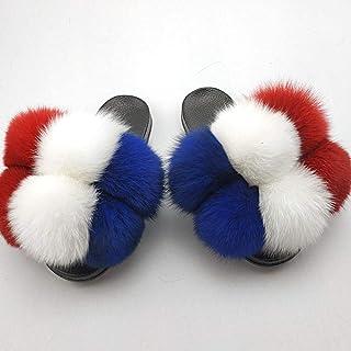 N/A Pantoufles en Polaire, Pantoufles en PVC à Boule de Fourrure pour Dame à la Mode, Pantoufles pour Enfants pour Noël-...