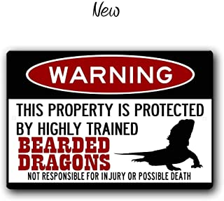 FemiaD Bearded Dragons Sign,Funny Metal Signs,Bearded Dragon Accessories,Lizard Warning Sign Aluminum Metal Sign 8 X 12 Inches