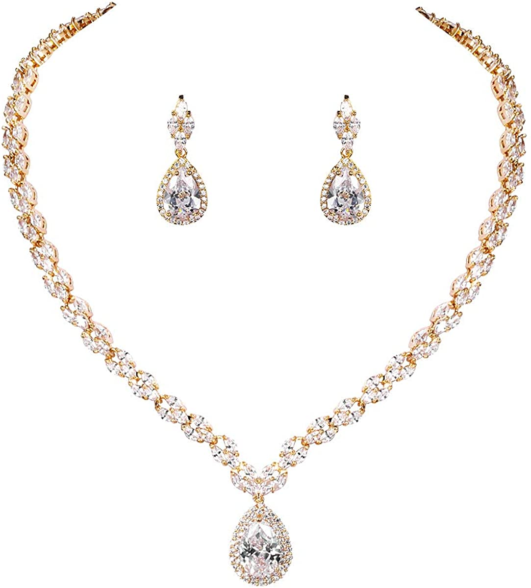 WeimanJewelry White Gold/Gold Plated Women Cubic Zirconia CZ Marquise Teardrop Bridal Tennis Necklace and Drop Earring Set for Wedding Brides