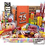 VINTAGE CANDY CO. 75TH BIRTHDAY RETRO CANDY GIFT BOX - 1946 Decade Childhood Nostalgia Candies - Fun Funny Gag Gift Basket - Milestone 75 Years Birthday - PERFECT For Man Or Woman Turning Seventy Five