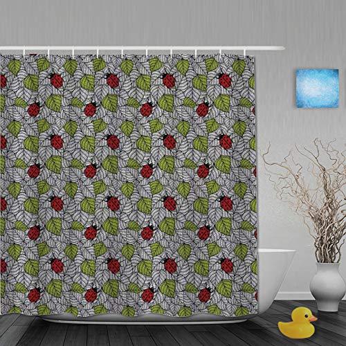 AYISTELU Duschvorhang,Ökologische frische Blätter und Marienkäfer kritzeln Tierpflanzen,Stoff Badezimmer Dekor Set mit Kunststoffhaken, enthalten - 180x210cm