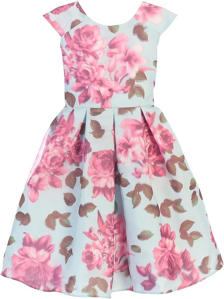Cap Sleeve Dress Special 3D Floral Print Easter Summer Flower Girl Dress