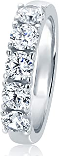 HB AMERICA Sterling Silver Round 1.2ct CZ Prong Setting Five Stone Wedding Anniversary Ring 4MM...