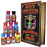 Hot Sauce Challenge Book Of Pleasure & Pain - 12 – 0.75 Ounce Bottles Gift Set - Perfect Premium Gourmet Hot Sauce Gift Set - Try If You Dare!