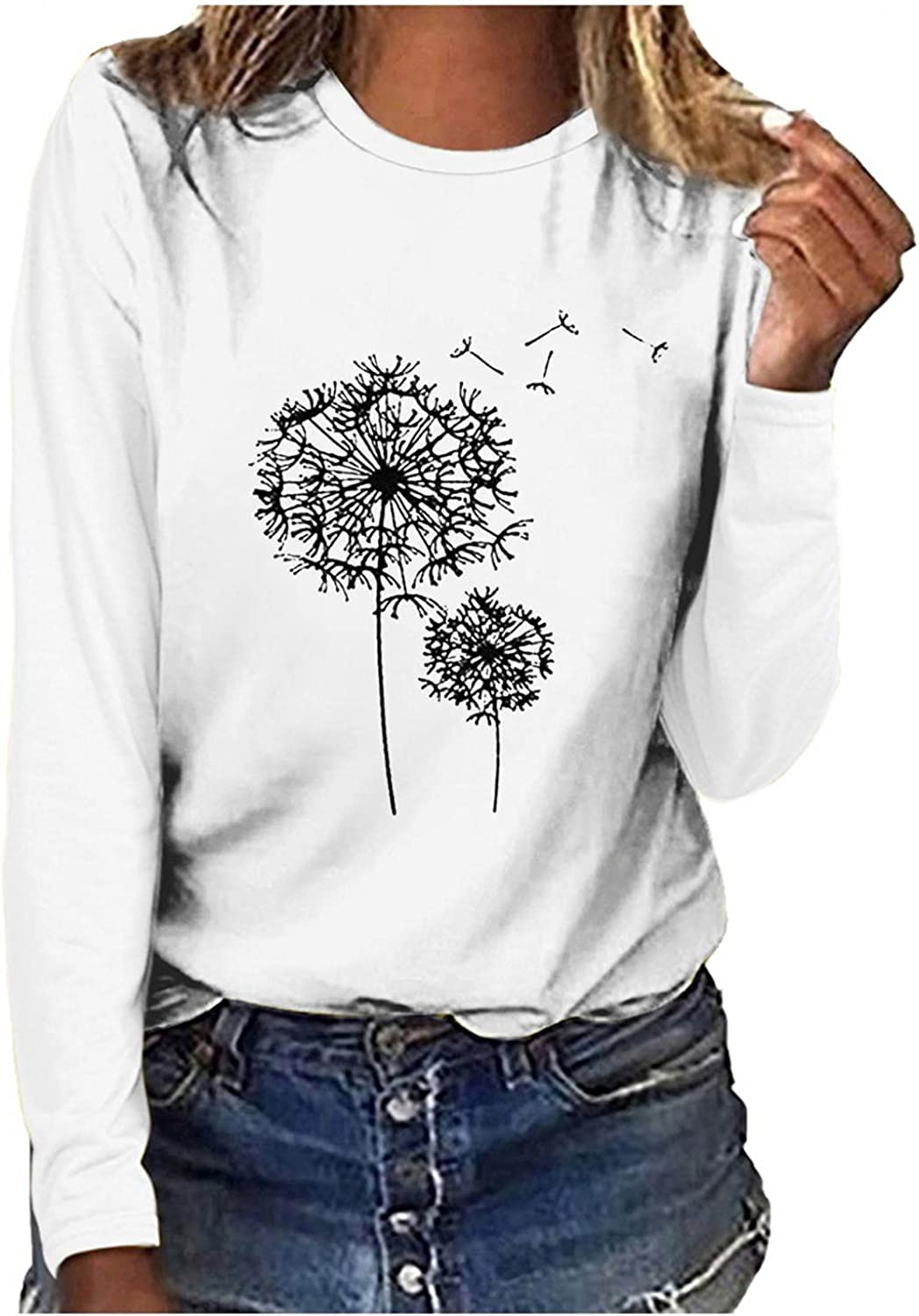 Womens Crewneck Sweatshirts, Casual Long Sleeve Pullover Funny Graphic Round Neck Printed Loose Blouse Tops