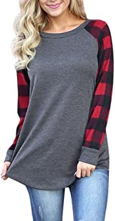 Women O-Neck Long Sleeve Patchwork Plaid Sweatshirt Pullover Tops Blouse Shirt