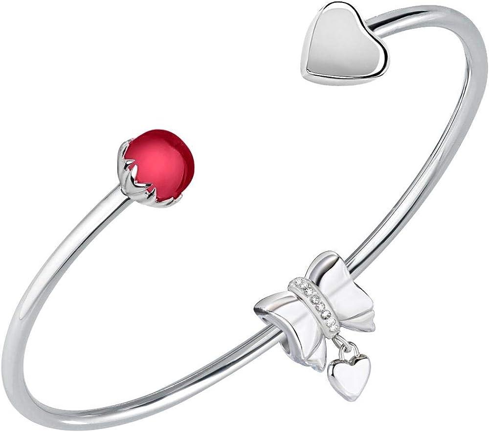 Morellato bracciale da donna, collezione drops, in acciaio e pietra  e cristalli con ciondolo SCZ1011