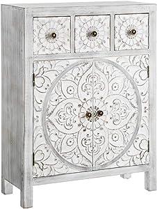 AXIDECOR - Recibidores Estilo Oriental - Mueble recibidor Oriente 3 Cajones 2 Puertas Gris (63x26x82)
