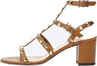 Women's Ankle Strap Block Heels Sandals Studded Strappy Slingback Gladiator Dress Summer