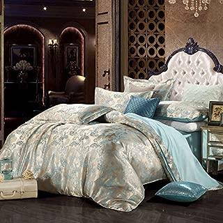 CocoQueen Polyester Sateen 4PC Duvet Cover Set European Style Golden & Blue Jacquard designs Queen Size