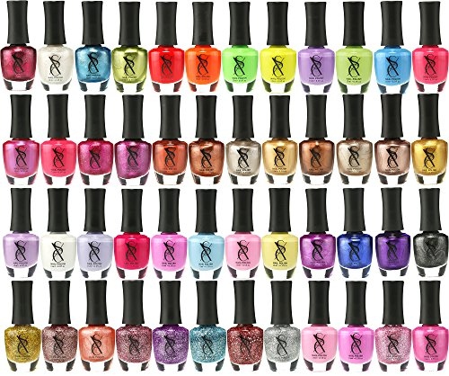 SXC Cosmetics Nail Polish Set, 15ml/0.5oz Full Size Nail Lacquer Gift lot (Pink, Metallic, Neon, Pastel, Gold & Glitter) (48 Color Set, 48 Colors)