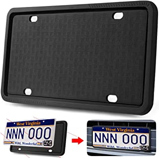 Manelord License Plate Frame - Silicone Version License Plate Frame with Anti-Impact, Waterproof, Shockproof for Automotive License Plate