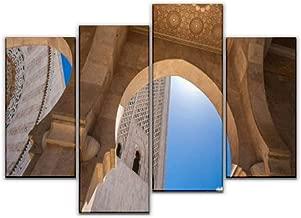 4 لوحات فنية على القماش برسمة رجل مسلم يصلي في المقام المقدس، ويرتدي حجاجات بيضاء وصور لديكور المنزل هدايا فنية جدارية من القماش لغرفة معيشتك