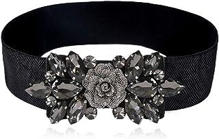 Dorchid Women Retro Belts Rhinestone Cummerbunds Crystal Interlocking Stretch belt