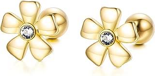 Solid 14k Gold Flower Earrings for Women, Real Gold Screw Back Stud Earrings