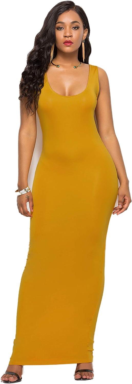 A·niehriu New item Womens Casual Tank Dress 55% OFF Long Neck Scoop Sleeveless