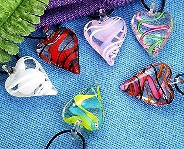 Ecloud Shop® 6 Colores Murano Lampwork Colgante Colgante De Cristal De Cristal Transparente F