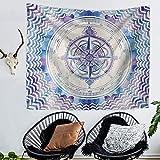 N / A Mandala brújula Alfombra Bohemia Colcha Manta Esterilla de Yoga Toalla de Playa Mandala Indio Tapiz Tapiz Hippie Tapiz de Fondo Tela Decorativa A3 130x150cm