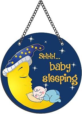 Yaya Cafe Kids Room Decorative Gifts Designer Wall Door Hanging Cute Baby Moon Sleeping - 11x11 inches