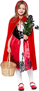 Cuteshower Girls Little Red Riding Hood Costume Halloween Cosplay Party Dress with Cape