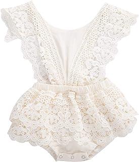 2Pcs Newborn Baby Girl Lace Ruffles Sleeve Bodysuits Backless Jumpsuit Clothes Romper Set