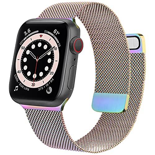 Meliya Armband Kompatibel mit Apple Watch Armband 38mm 40mm 42mm 44mm, Edelstahl Metall Ersatzarmband mit Doppelmagnet für iWatch Series SE 6 5 4 3 2 1 (42mm/44mm, Bunt)